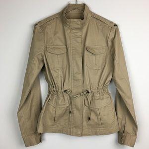 New York & Company Khaki Cinchable Utility Jacket